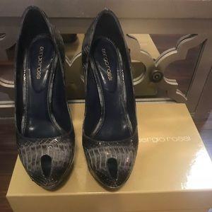 Sergio Rossi blue grey snake peep toe pump